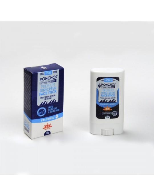 Protetor Solar Ponchos Premium FaceStick Sunscreen FPS-45 Branco- Prancharia