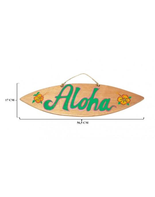 Pranchinha Decorativa Aloha Flor Hibisco Madeira