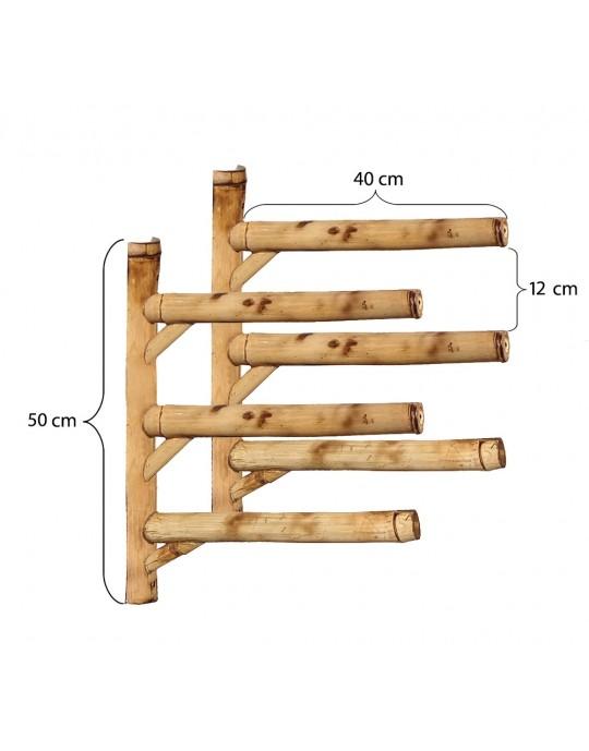 Rack Para 3 Pranchas de Surf - Horizontal - Totalmente em Bambu