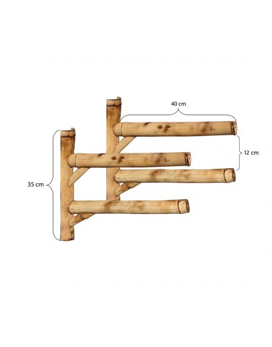 Rack Para 2 Pranchas de Surf - Horizontal - Totalmente em Bambu