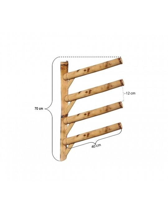Rack Para 4 Pranchas de Surf 45º - Horizontal - Totalmente em Bambu