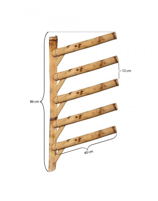 Rack Para 5 Pranchas de Surf 45º - Horizontal - Totalmente em Bambu