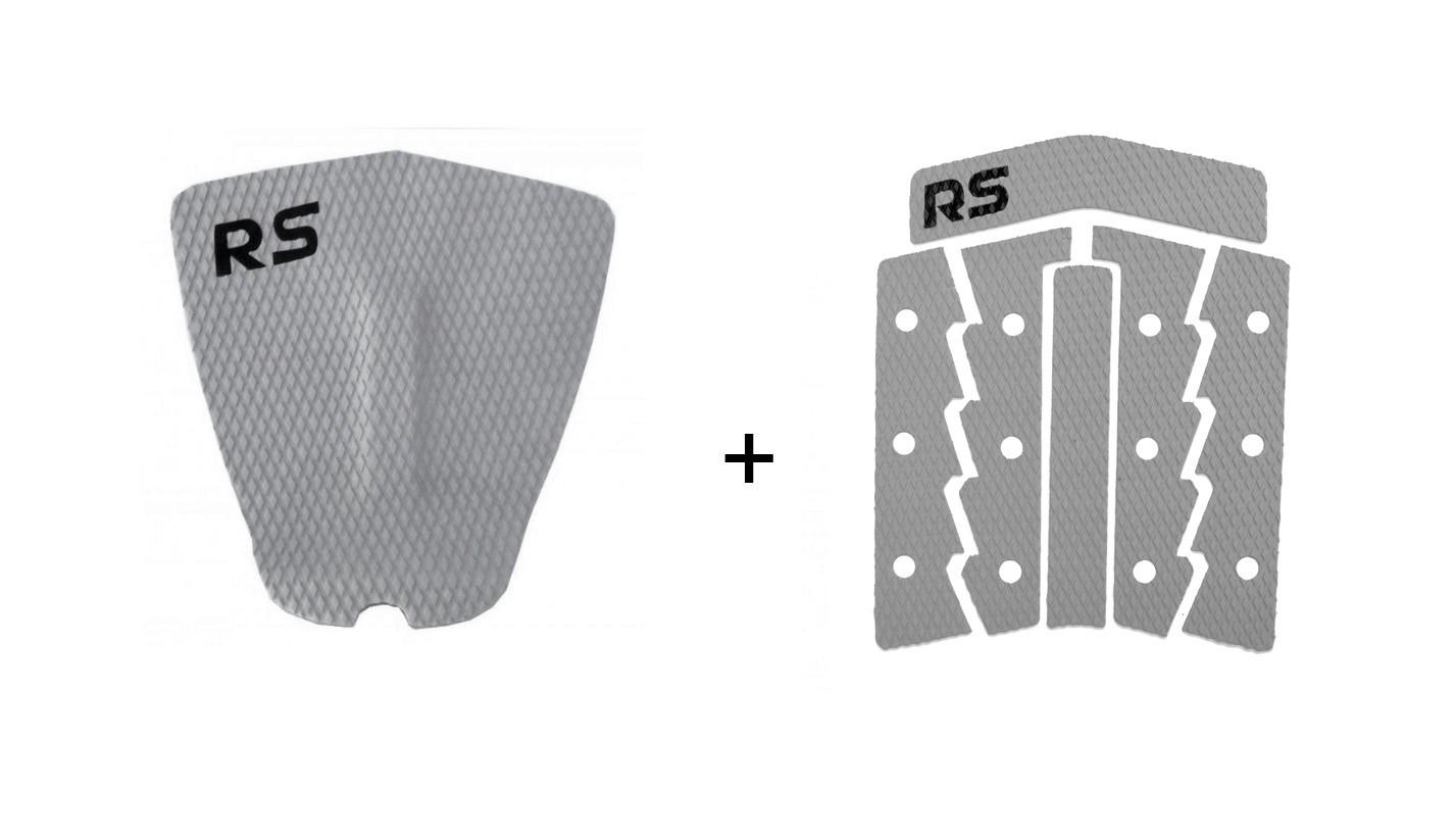 Kit Deck Antiderrapante Frezado Squash RS + Deck Frontal 6 Partes Rubber Sticky Cinza   Prancharia