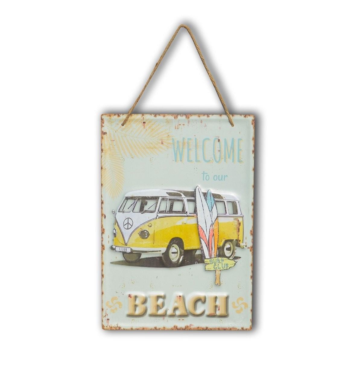 Placa Retrô Beach Kombi Amarela   Prancharia
