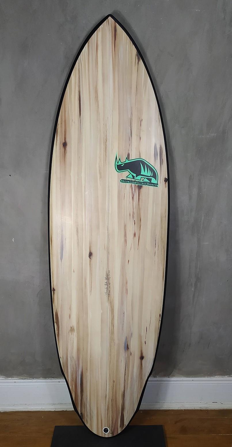 "Prancha de Surf Marcelo Neto 5'10"" Madeira"