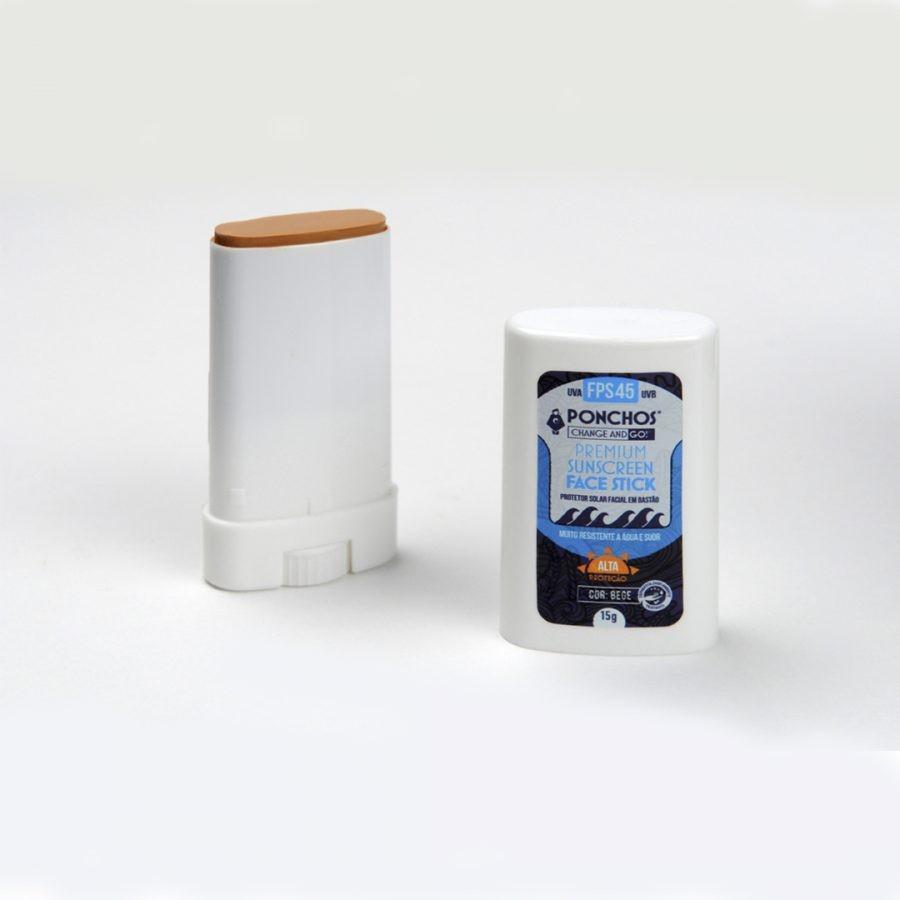 Protetor Solar Ponchos Premium FaceStick Sunscreen FPS-45 Beje