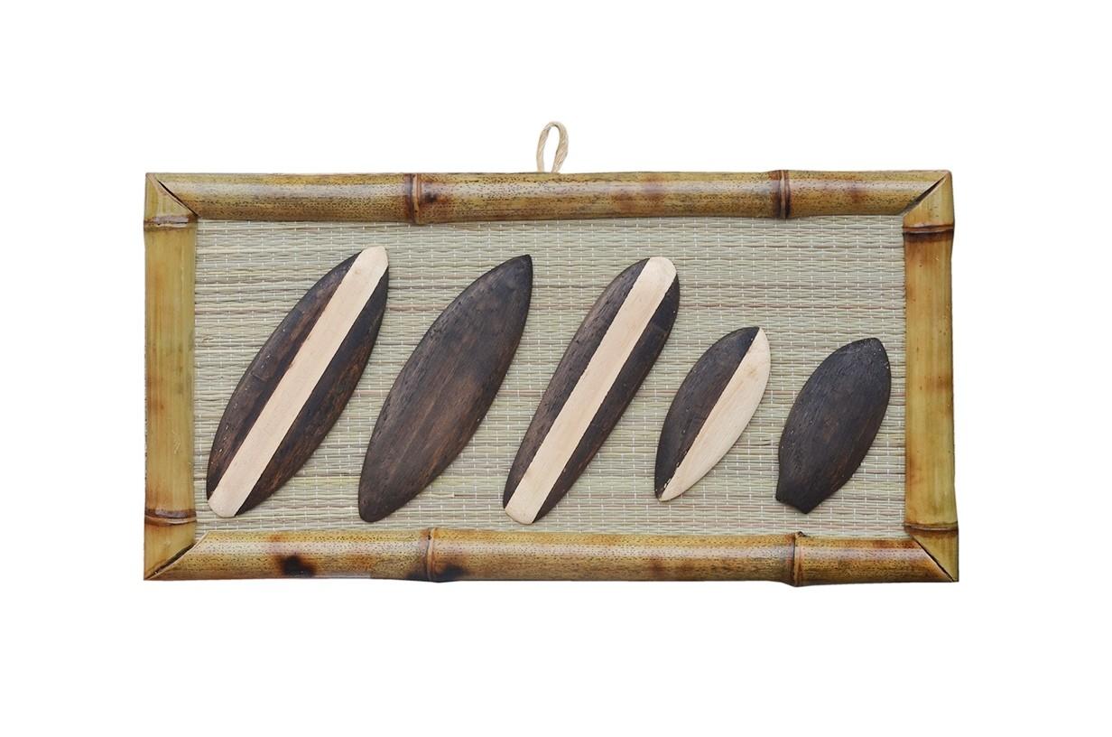 Quadro Decorativo Bambu Pranchas de Surf   Prancharia