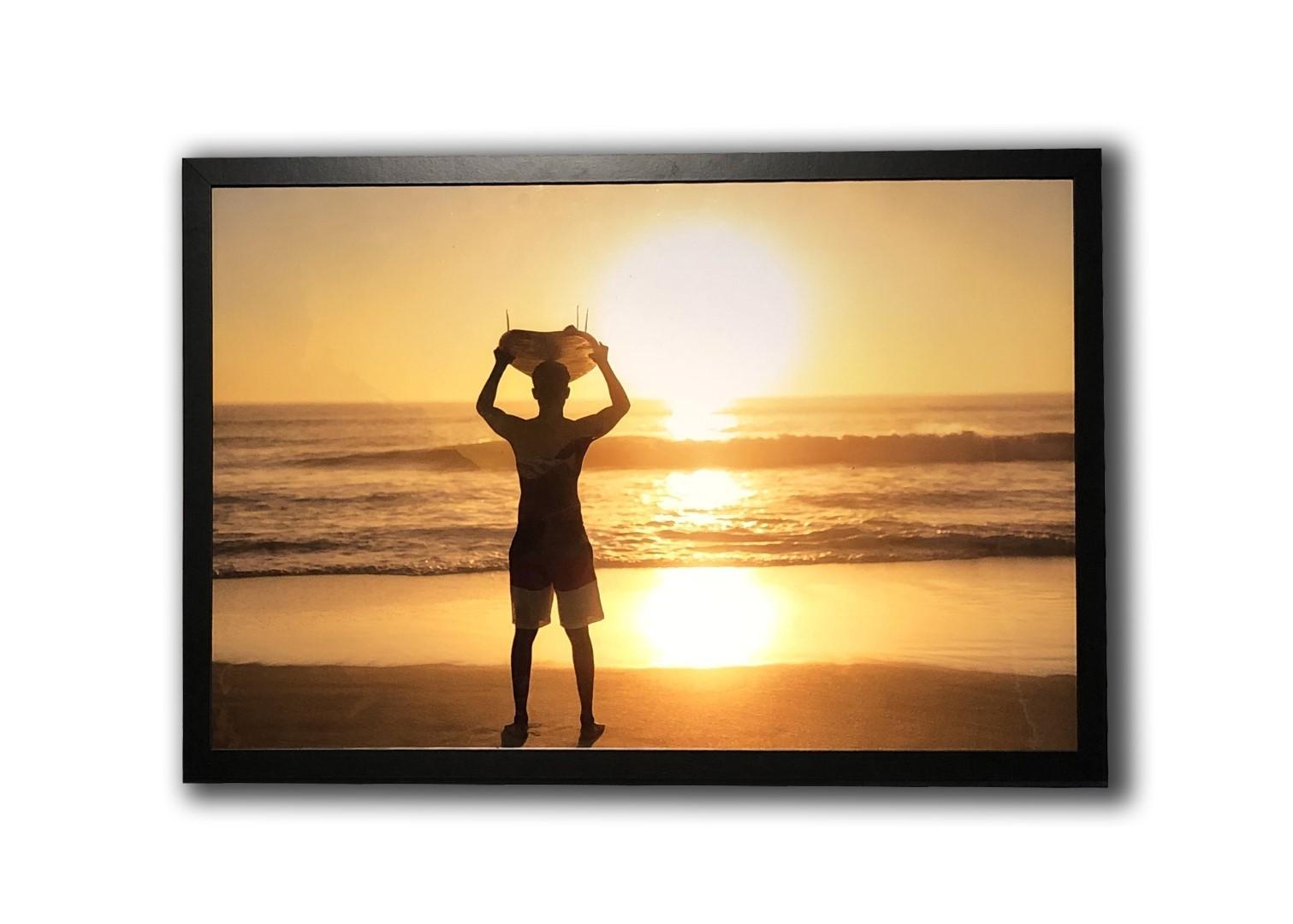 Quadro Decorativo Surfista Por do Sol | Prancharia