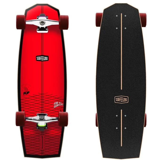 Skate Simulador de Surf Surfeeling MR POP Vermelho Neon