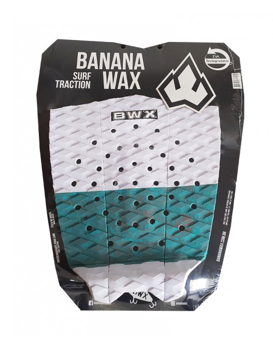 Deck Surf Banana Wax Thermo-Fresado Branco com Verde 3 Partes
