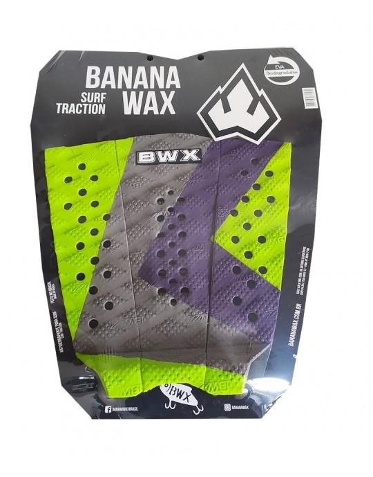 Deck Surf Banana Wax Thermo-Fresado Verde com Roxo e Cinza 3 Partes