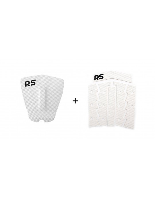 Kit Deck Antiderrapante Frezado Squash RS + Deck Frontal 6 Partes Rubber Sticky Branco | Prancharia