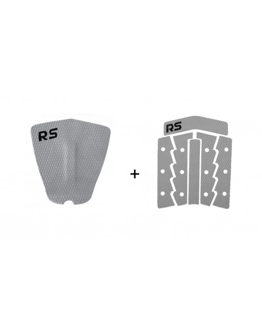 Kit Deck Antiderrapante Frezado Squash RS + Deck Frontal 6 Partes Rubber Sticky Cinza | Prancharia