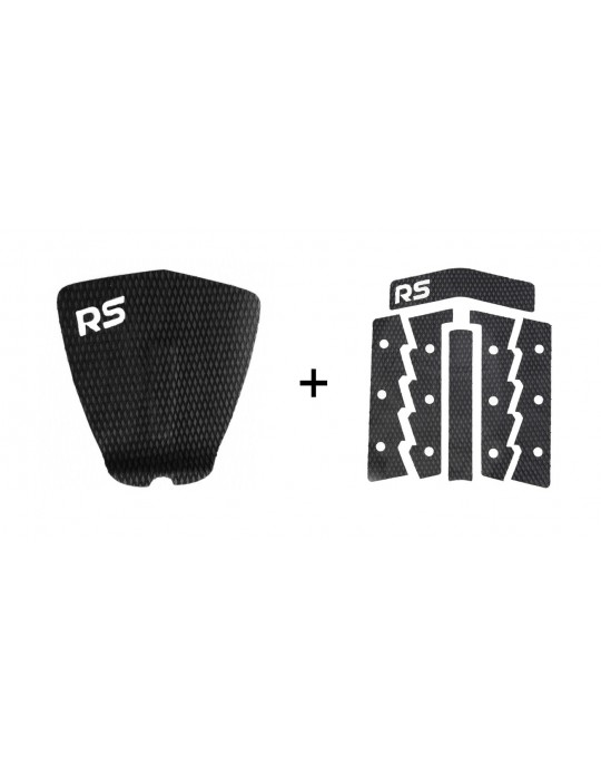 Kit Deck Antiderrapante Frezado Squash RS + Deck Frontal 6 Partes Rubber Sticky Preto | Prancharia