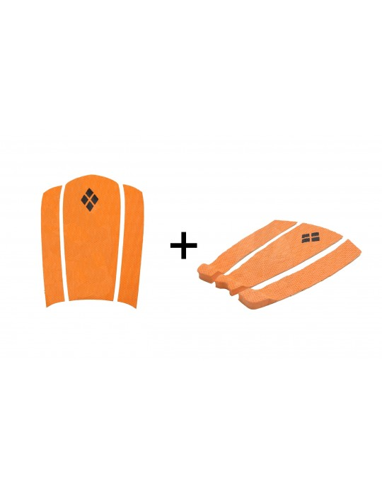 Kit Decks Surf Frontal + Traseiro 3 Partes Rubber Sticky Laranja | Prancharia