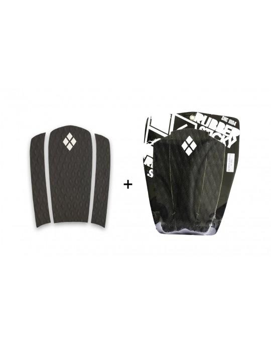 Kit Decks Surf Frontal + Traseiro 3 Partes Rubber Sticky Preto | Prancharia
