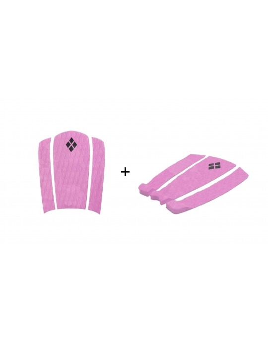 Kit Decks Surf Frontal + Traseiro 3 Partes Rubber Sticky Rosa | Prancharia