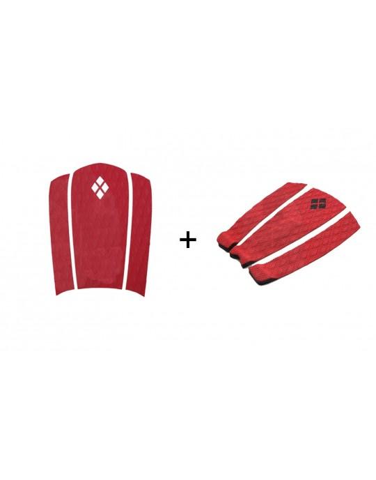 Kit Decks Surf Frontal + Traseiro 3 Partes Rubber Sticky Vermelho | Prancharia