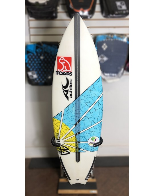 "Prancha de Surf Achiles Cerullo 5'7"" Azul / Amarela Seminova | Prancharia"