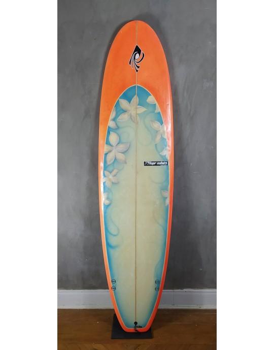 """Prancha de Surf Funboard Roger Malheiros 7'5"""" Laranja Seminova"""