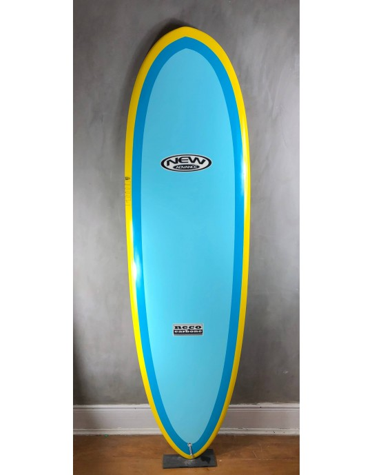 "Prancha de Surf Mini Long New Advance 6'6"" Azul/Amarelo EPS + Epoxi"