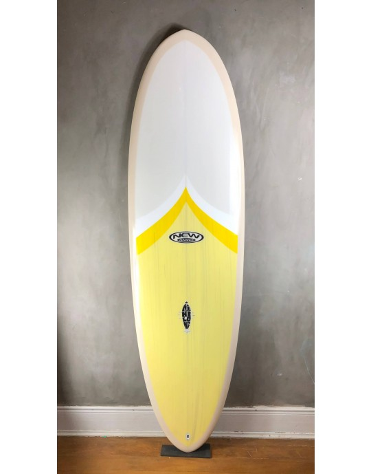 "Prancha de Surf Mini Long New Advance 6'8"" Cinza/Amarelo EPS + Epoxi"