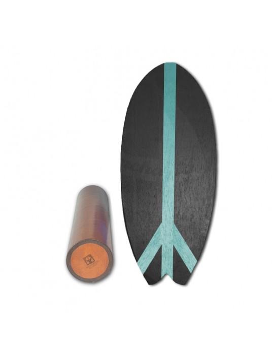 Prancha de Equilíbrio Wood Fish Preto/Azul Turquesa | Prancharia