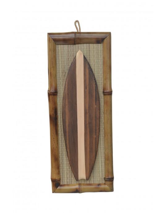 Quadro de Surf Bambu Prancha Marrom - Prancharia