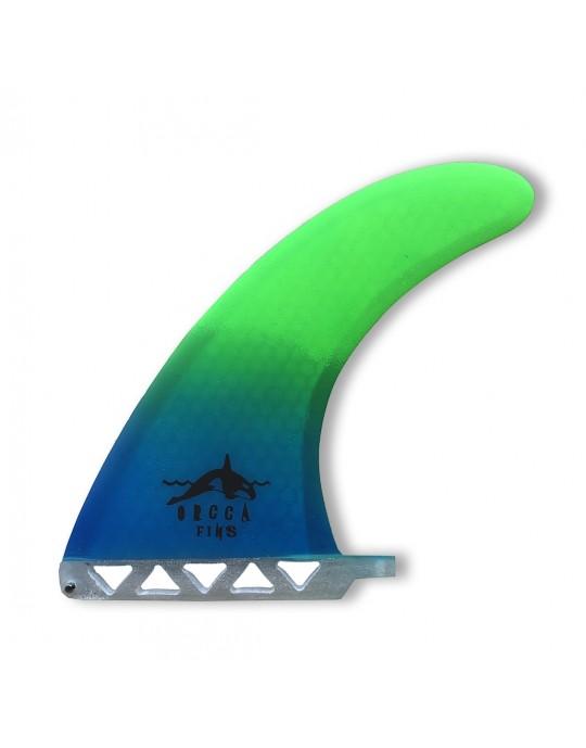 """Quilha central Fibra de Vidro 8"""" Orca Fins Verde e Azul"""