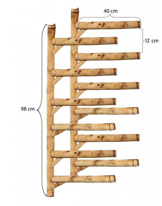 Rack Para 6 Pranchas de Surf - Horizontal - Totalmente em Bambu | Prancharia