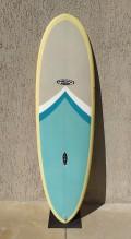 "Prancha de Surf Mini Long New Advance 6'8"" Amarelo com Azul EPS + Epoxi"